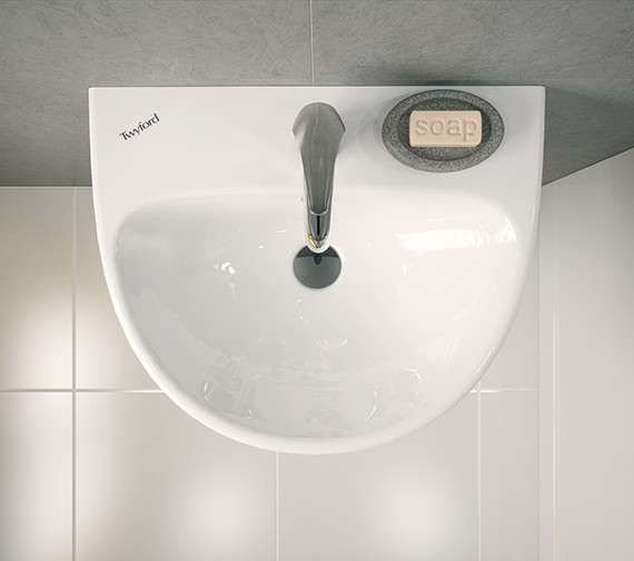 Additional image of Twyford E100 Round 600 x 480mm 1 Tap Hole Washbasin With Full Pedestal