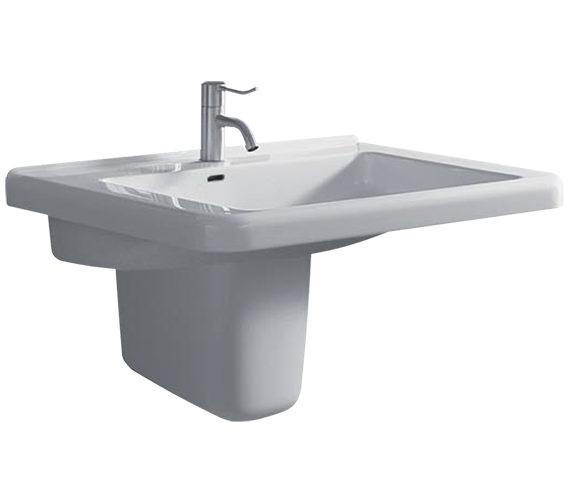 Twyford All 600 x 550mm 1 Tap Hole Washbasin With Semi Pedestal