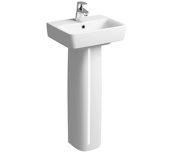 Twyford E200  Handrinse 1 Tap Hole Basin With Pedestal - 2 Tap Hole Optional