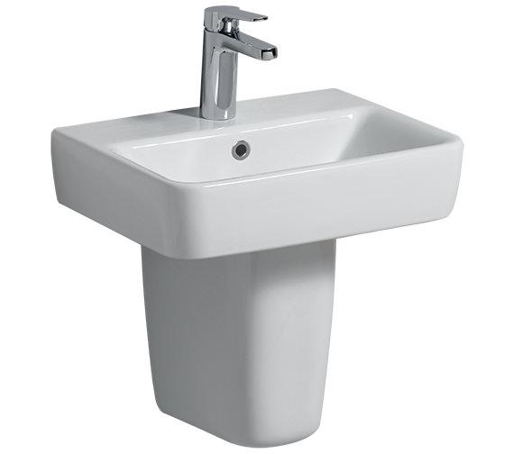 Twyford E200 450 x 340mm 1 Tap Hole Handrinse Basin With Semi Pedestal
