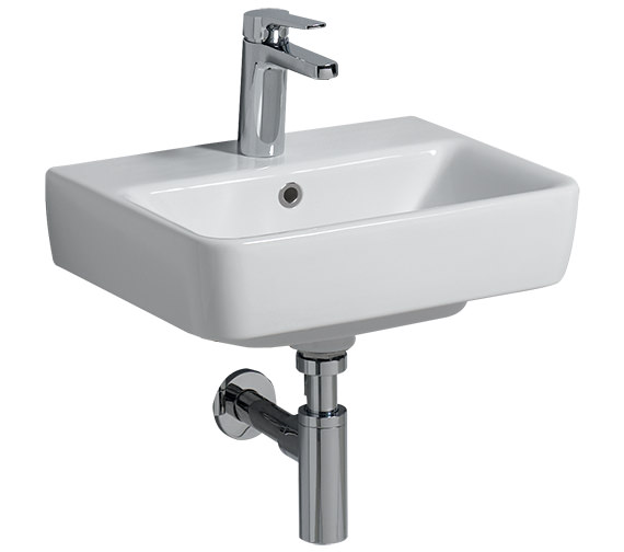Twyford E200 450 x 340mm 1 Tap Hole Handrinse Basin - E24811WH
