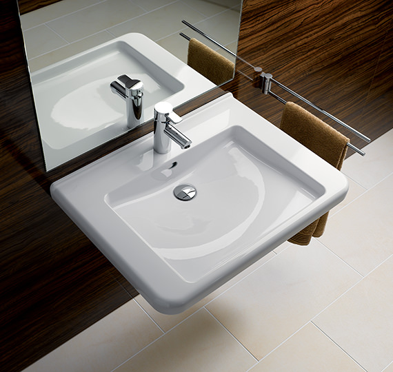 Additional image of Twyford All 600 x 550mm 1 Tap Hole Washbasin With Semi Pedestal