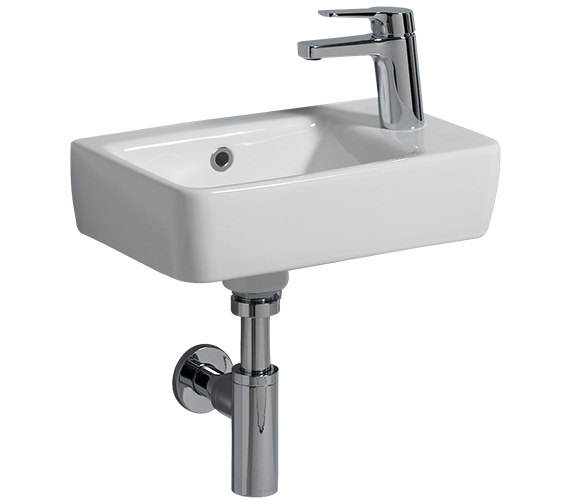 Twyford E200 400 x 250mm 1 Right Hand Tap Hole Handrinse Washbasin - E24815WH
