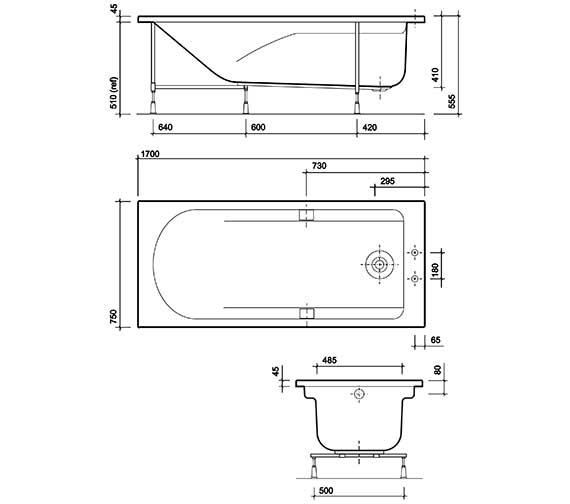Technical drawing QS-V27851 / TA8500WH