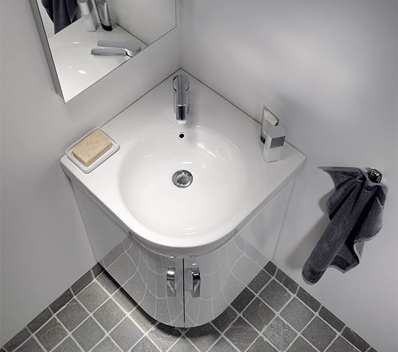 Additional image of Twyford E200 White Corner Vanity Unit 690mm With 500mm Handrinse Basin