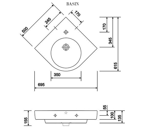 Alternate image of Twyford E200 White Corner Vanity Unit 690mm With 500mm Handrinse Basin