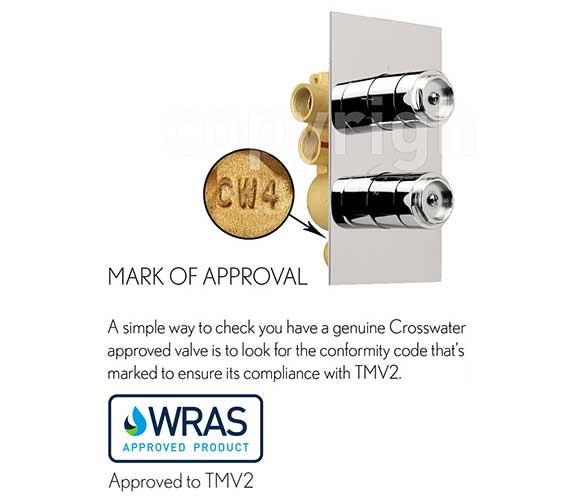 Alternate image of Crosswater Waldorf Crosshead Landscape Thermostatic Valve With 2W Diverter