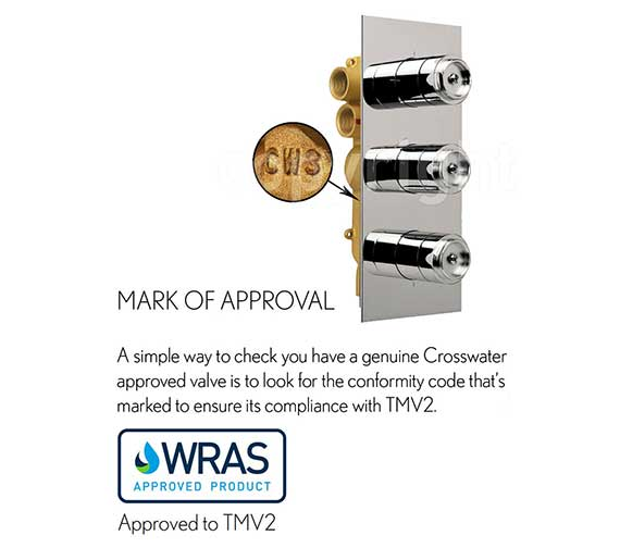 Alternate image of Crosswater Waldorf White Lever Portrait Thermostatic Valve With 3W Diverter