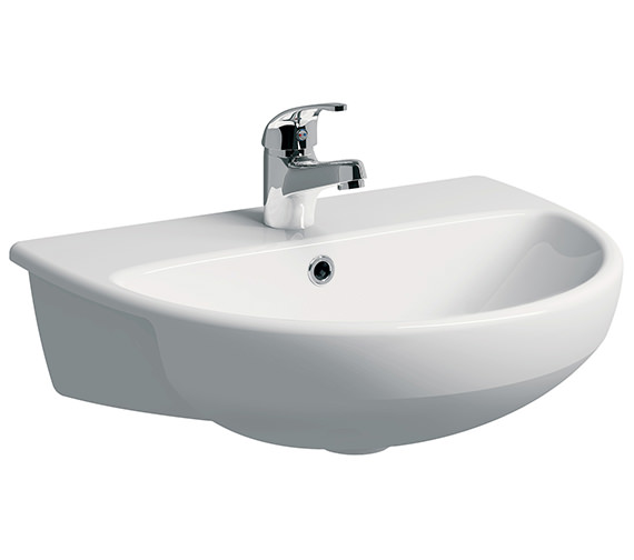 Twyford E100 Round 550 x 440mm Semi Recessed Basin 1 Taphole