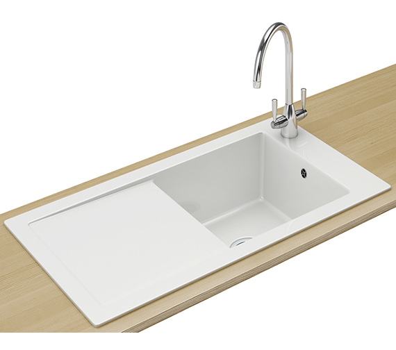 Franke Aspen ANK 611 Ceramic White 1.0 Bowl Inset Sink 124.0318.857