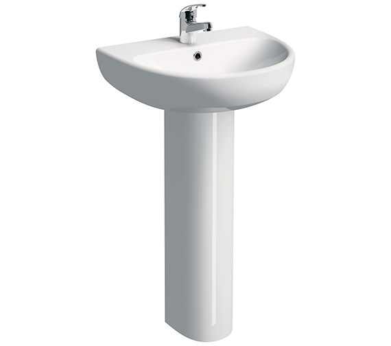 Twyford E100 Round 600 x 480mm 1 Tap Hole Washbasin With Full Pedestal