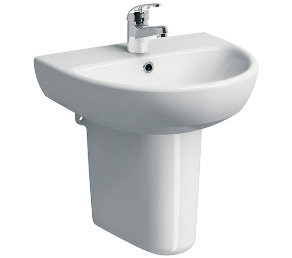Twyford E100 Round 550 x 440mm 1 Tap Hole Washbasin With Semi Pedestal