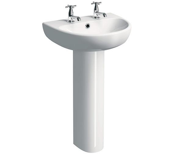 Twyford E100 Round 500 x 410mm 2 Tap Hole Washbasin With Full Pedestal