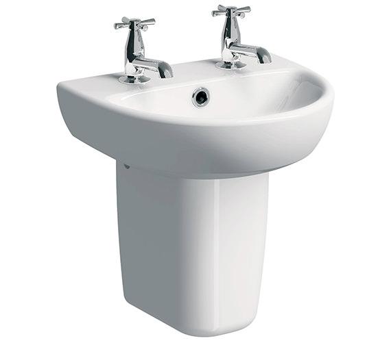 Twyford E100 Round 450 x 360mm 2 Tap Hole Washbasin With Semi Pedestal