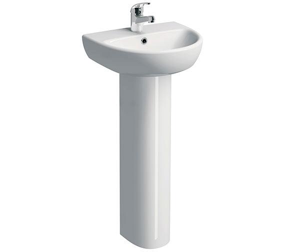 Twyford E100 Round 450 x 360mm 1 Tap Hole Washbasin With Full Pedestal