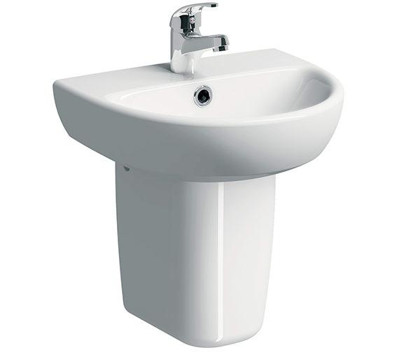 Twyford E100 Round 450 x 360mm 1 Tap Hole Washbasin With Semi Pedestal