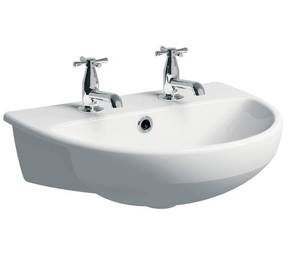 Additional image of Twyford E100 Round 550 x 440mm Semi Recessed Basin 1 Taphole