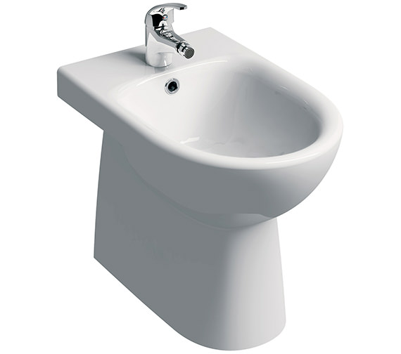 Twyford E100 Round 1 Tap Hole Floorstanding Back-To-Wall Bidet 530mm
