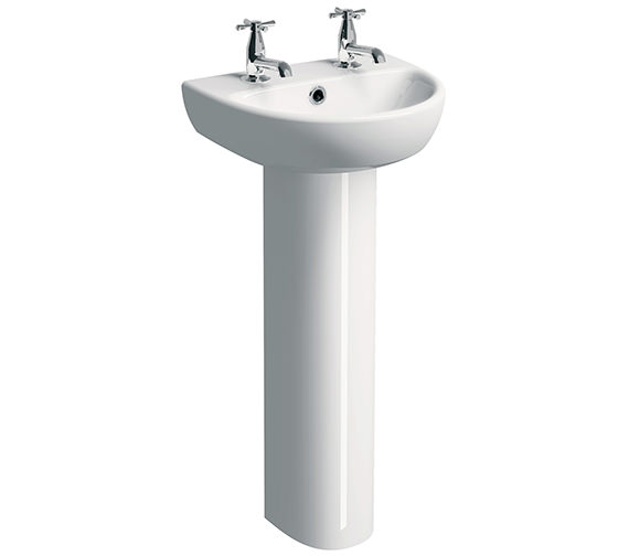 Twyford E100 Round 450 x 360mm 2 Tap Hole Washbasin With Full Pedestal