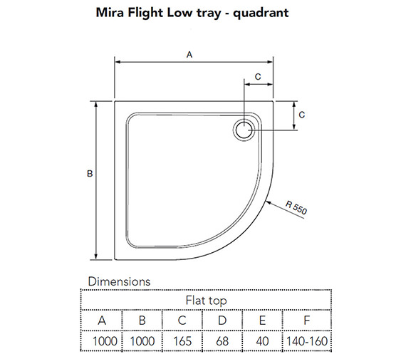 Additional image of Mira Flight Low Quadrant Shower Tray With Waste