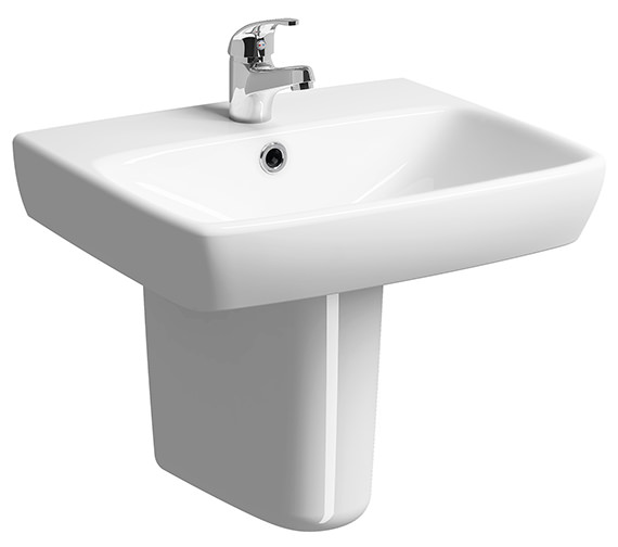 Twyford E100 Square 600 x 460mm 1 Tap Hole Washbasin With Semi Pedestal