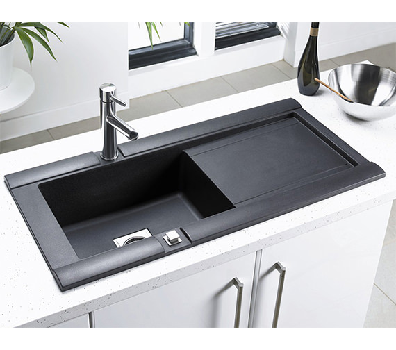 Additional image of Astracast Geo 1.0 Bowl Composite ROK Metallic Inset Sink And Accessories