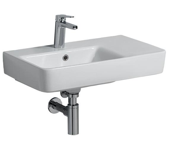 Twyford E200 650 x 370mm 1 Tap Hole Washbasin With Right Hand Shelf