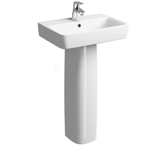 Twyford E200 600 x 370mm 1 Tap Hole Washbasin With Full Pedestal