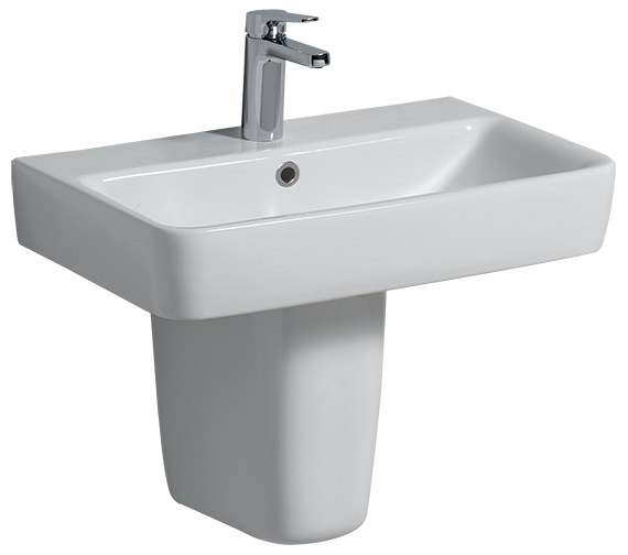 Twyford E200 600 x 370mm 1 Tap Hole Washbasin With Semi Pedestal