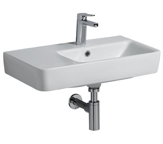 Twyford E200 650 x 370mm 1 Tap Hole Washbasin With Left Hand Shelf