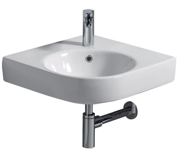 Twyford E200 500 x 500mm 1 Tap Hole Corner Washbasin - E24191WH