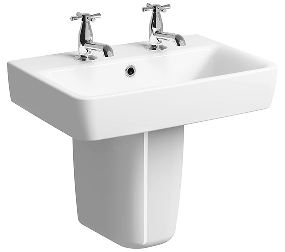 Twyford E200 600 x 370mm 2 Tap Hole Washbasin With Semi Pedestal