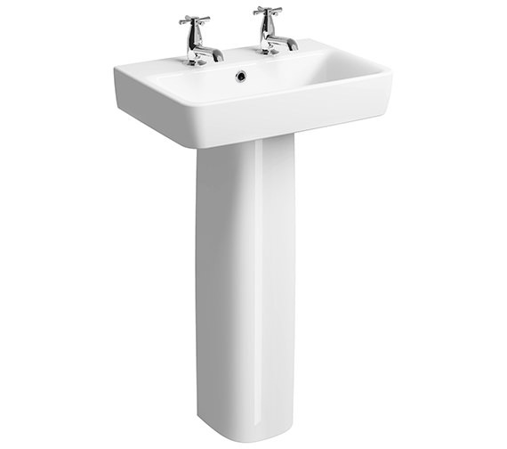 Additional image of Twyford E200 Wide Washbasin With Full Pedestal 550mm