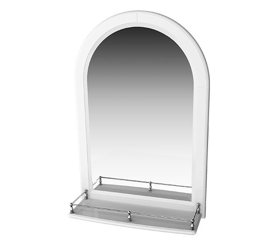 Miller Traditional 1903 Mirror With White Arched Frame And Shelf