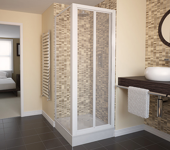 Aqualux Aqua 4 Bi-fold Door And Side Panel 760 x 760mm White