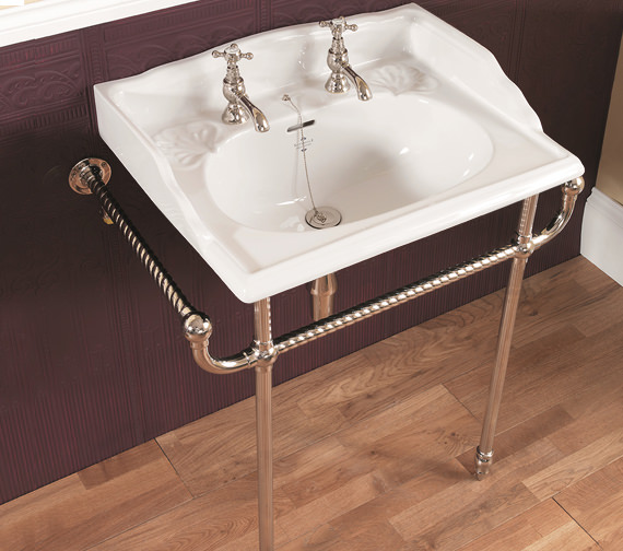 Silverdale 635mm Basin And Chrome Basin Stand - VCTRASTNDCHR