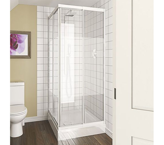 Alternate image of Aqualux Aqua 4 Telescopic Corner Entry Clear Glass Enclosure 760-800mm - 1174014