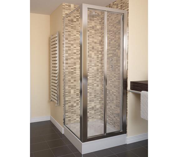 Aqualux Aqua 4 Bi-fold Door And Side Panel 760 x 760mm Polished Silver