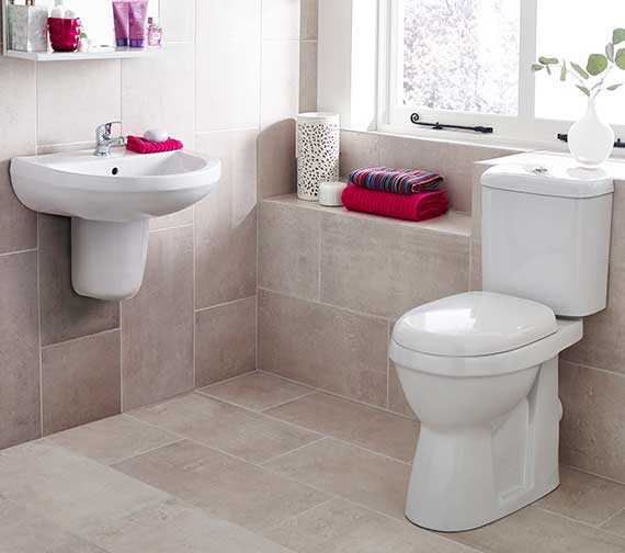 Premier Ivo Close Coupled Comfort Height 480mm WC Pan And Cistern Set