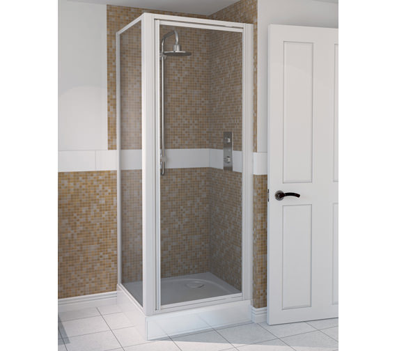 Aqualux Aqua 4 Pivot Door And Side Panel 800 x 800mm White