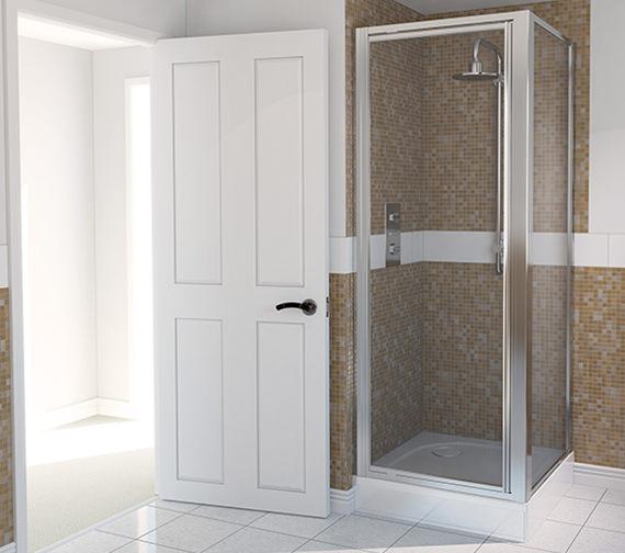 Aqualux Aqua 4 Pivot Door And Side Panel 760 x 760mm Polished Silver