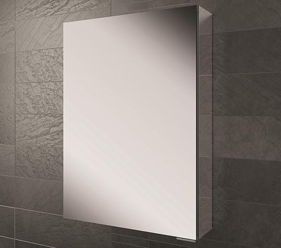 HIB Eris Single Door Aluminium Mirrored Cabinet 400 x 600mm -