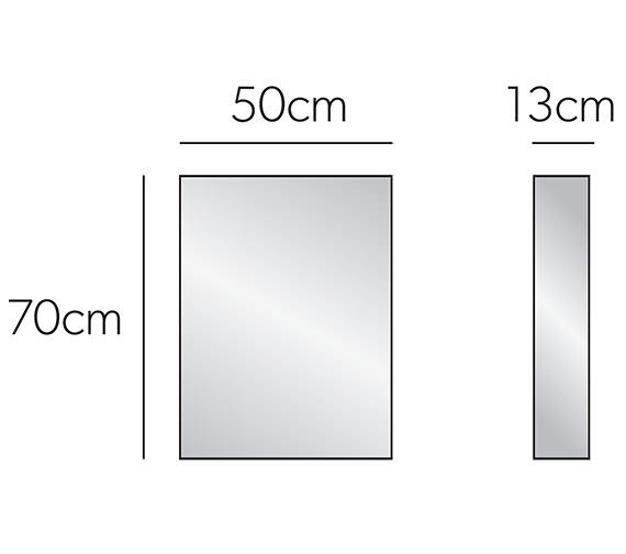 Additional image of HIB Eris Single Door Aluminium Mirrored Cabinet 400 x 600mm -