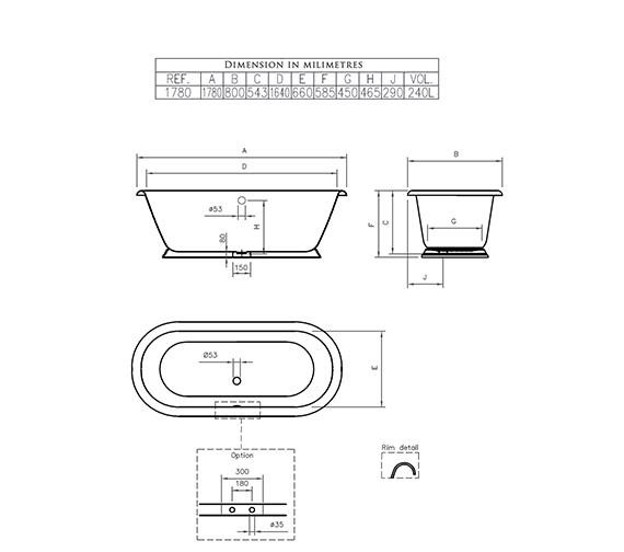 Technical drawing QS-V4216 / POBTH2FTWHI