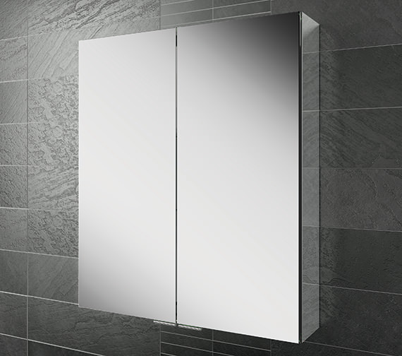 HIB Eris 60 Double Door Aluminium Mirrored Cabinet 600 x 700mm