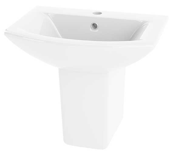 Premier Asselby 500mm 1 Tap Hole Basin And Semi Pedestal