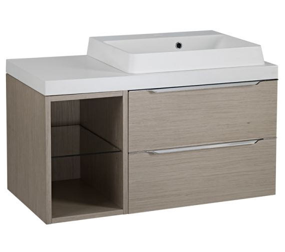 Tavistock Array Light Java Double Drawer Basin Unit With 300mm Open Unit