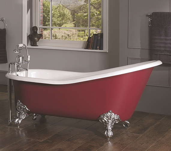 Silverdale Ginevra 2 Taphole Slipper Bath 1700x760mm With Primed Feet