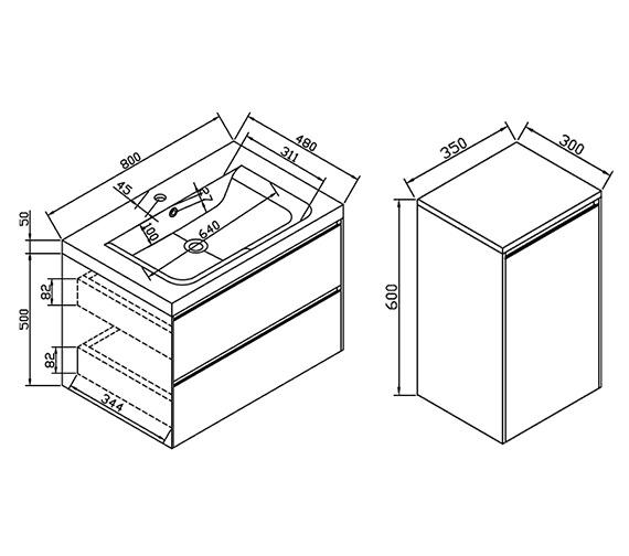 Technical drawing QS-V6200 / CAB380