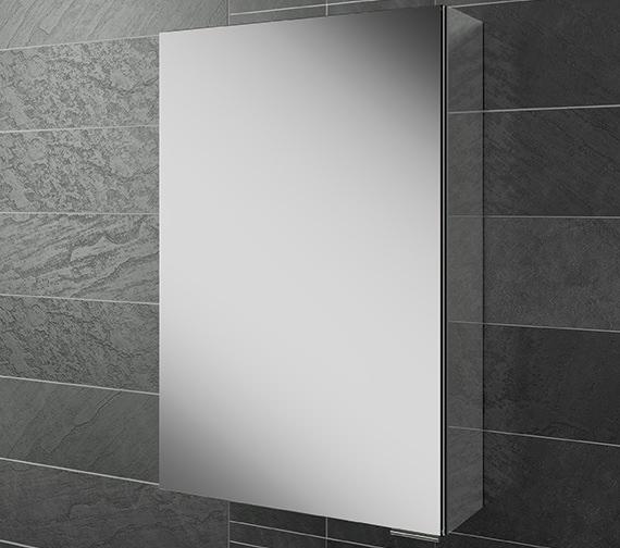 HIB Eris 40 Single Door Aluminium Mirrored Cabinet 400 x 600mm